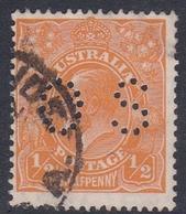 Australia SG O97 1926 King George V,half Penny Orange P.13.5 X 12,5,perforated Small OS, Used - 1913-36 George V : Têtes