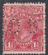 Australia SG O100 1924 King George V,three Half Penny Scarlet Perf 13.5.12.5,perforated Small OS, Used - 1913-36 George V: Heads