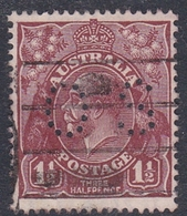 Australia SG O102 1924 King George V,three Half Penny Brownt Perf 13.5.12.5,perforated Small OS, Used - 1913-36 George V: Heads