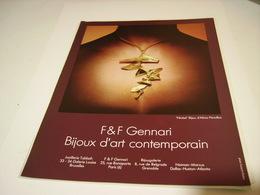 ANCIENNE PUBLICITE JOAILLIER GENNARI  1972 - Bijoux & Horlogerie