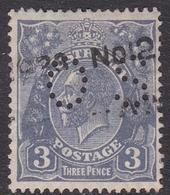 Australia SG O106b 1924 King George V,3b Blue Die II,perforated Small OS, Used - 1913-36 George V: Heads