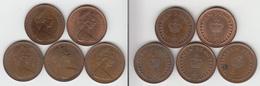 Grande Bretagne ½ Penny 1971 + 1974 + 1976 + 1977 + 1980 - 1971-… : Monnaies Décimales