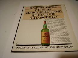 PUBLICITE AFFICHE  WHISKY GLENLIVET   1982 - Alcohols