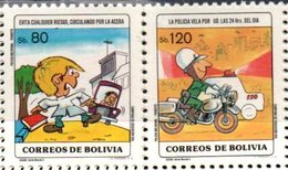 Bolivia 1984. CEFIBOL 1212-13 ** Educación Transito Y Seguridad Vial: Escolar En La Calle. Policia En Moto. - Bolivië