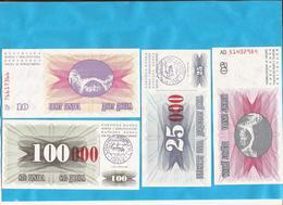 1993 TRAVNIK BOSNIA HERZEGOWINA UEBERDRUCK 10000-25000-50000-100000 LUX - Bosnia Y Herzegovina