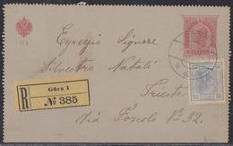 Görz (Gorica), 10 Hel Closed Stationary Postcard, Uprated With 25 Hel, Sent Registered, April 1907 - 1850-1918 Empire