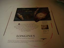ANCIENNE PUBLICITE MONTRE LONGINES QUALITE 1958 - Autres