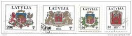 Latvia Logo Riga ,logo Latvia - Lion ,Dragon Used Stamp 1994 Big Face Value - Latvia