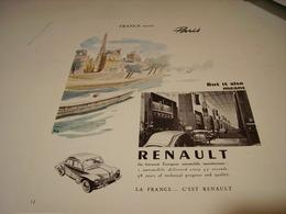 ANCIENNE PUBLICITE VOITURE  RENAULT 1957 PARIS - Cars