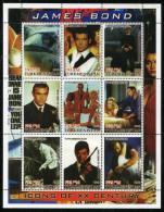 JAMES BOND,007,Movie On SOUVENIR SHEET 9 STAMPS,MNH,Mint,#O99 - Cinema