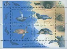 Iran 2009 Cooperating To Conserve Marine Turtles Souvenir Stamp Sheet - Mundo Aquatico