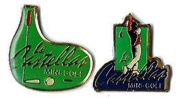 G12 - MINI-GOLF - LE CASTELLAS - 2 Pin's - Verso : PUB GARCIN Multiples - Golf
