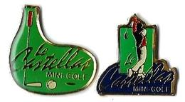 GOLF - G12 - MINI-GOLF - LE CASTELLAS - 2 Pin's - Verso : PUB GARCIN Multiples - Golf