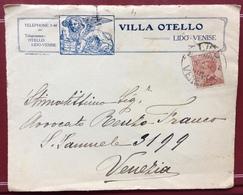 VILLA OTELLO LIDO VENEZIA  FRONTE BUSTA PUBBLICITARIA CON MICHETTI 30c. PER VENEZIA IN DATA 9/2/26 - Werbepostkarten
