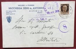 OSTIGLIA(35-57)  MOLINO  A CILINDRI  F.lli BACCHIEGA   CARTOLINA PUBBLICITARIA  Censurata PER MANTOVA IN DATA 23/11/1943 - Werbepostkarten