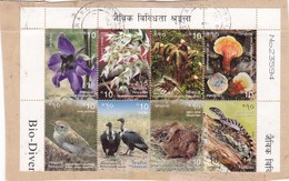 NEPAL 8 STAMPS USED ON PAPER BIO DIVERSITY MUSHROOM BIRD FLOWER ANI - Népal