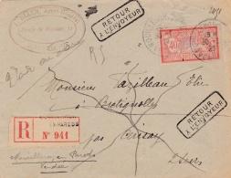 """MERSON 40c Rouge Et Bleu Sur Recommandé  Griffe  """" Retour à L'envoyeur """" Diverses Annotations - 1877-1920: Période Semi Moderne"""