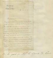 Lettre Du Sécrétariat Du Comte De Paris à Léon De La Brière, Zouave Pontifical. 1885. Signée Camille Dupuy. - Autographes
