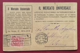 IL MERCATO UNIVERSALE  ARCHIVI INDIRIZZI MILANO CARTOLINA PUBBLICITARIA PER PALERMO DEL 26/3/21 - Werbepostkarten