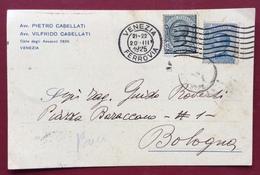 VENEZIA AVV. PIETRO E VILFRIDO CASELLATI  CARTOLINA PUBBLICITARIA AUTOGRAFA X BOLOGNA CON LEONI + MICHETTI DEL 20/3/1925 - Werbepostkarten
