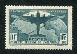 7612  FRANCE   N°321 *  10F Vert   100éme Traversée Aérienne De L'Atlantique - Sud     1936  Cote375€   TB - Ungebraucht