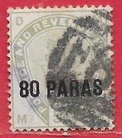 Levant Britannique N°2 80p Sur 5p Vert 1885 O - British Levant