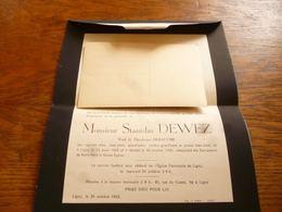 LDM2 Stanislas Dewez Debauche Ligny 1952 - Obituary Notices