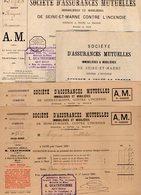 VP12.549 - BUSSIERES 1908 - Lot De Documents De La Société D'Assurances Mutuelles - Agence De La FERTE SOUS JOUARRE - Bank & Insurance
