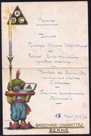 MENU PUBLICITE PUBLICITAIRE * BATSHARI CIGARETTE BERNE *   By IVO PUHONNY - RARE - 21 X 14cm - Advertising - Publicité