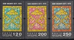 Vaticano 1978 Blf. 641/643 Vetrate Sede Vacante . Insegne Del Ciambellano MNH Full Set - Vetri & Vetrate