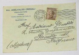 PARMA - Cartolina Commerciale Pubblicitaria Avv.Procuratore Adelvaldo Credali - Piazza C.Battisti - 1925 - Parma