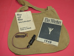 H-JUGEND : SIFFLET DE COMMANDEMENT + LIVRET DE CHANTS + LIVRET DE NOTES !!! - 1939-45