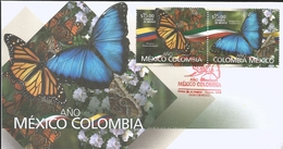 M) 2018, MEXICO, COLOMBIA - MEXICO YEAR, MONARCH BUTTERFLY, AND BLUE BUTTERFLY, FDC - Mexico