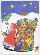 Kinderzeichnung - Weihnachsmotiv - Nikolaus Mit Geschenkrucksack - Sos Kinderdorf    - V-5-156 - Santa Claus