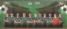 M) 2018, MEXICO, NATIONAL FOOTBALL TEAM, COMMEMORATIVE STAMPS OF SOCCER WORLD CUP, SET OF 2 MNH - Mexico