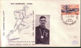 FDC FILAGRANO OLIMPIADI ROMA 1960 I VINCITORI:ATLETICA LEGGERA  M.800  SNELL. - Italia
