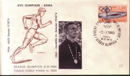 FDC FILAGRANO OLIMPIADI ROMA 1960 I VINCITORI:ATLETICA LEGGERA  M.5000  HALBERG. - Italia