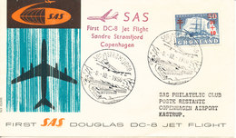 Greenland First Flight Cover SAS DC-8 Jet Flight Sdr. Strömfjord - Copenhagen 8-10-1960 - Covers & Documents
