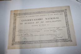 Certificat De Deuxième Prix De Diction Du Conservatoire De Toulon Pour Louis Castel Du Duo Castel Et Casti 1941 - Diplômes & Bulletins Scolaires
