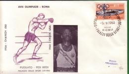 FDC FILAGRANO OLIMPIADI ROMA 1960 I VINCITORI:PUGILATO   Pesi Medi  CROOK. - Italia