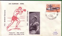 FDC FILAGRANO OLIMPIADI ROMA 1960 I VINCITORI:PUGILATO   Pesi Gallo  GRIGORYEV. - Italia