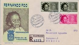 1963 , FERNANDO POO , SOBRE DE PRIMER DIA , ED 218 / 219 , AYUDA A BARCELONA - Fernando Poo