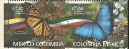 M) 2018, MEXICO,  COLOMBIA - MEXICO YEAR, MONARCH BUTTERFLY, AND BLUE BUTTERFLY, SET OF 2 MNH - Mexico
