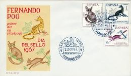 1967 , FERNANDO POO , SOBRE DE PRIMER DIA , ED 259 / 261 , DIA DEL SELLO , FAUNA - Fernando Poo