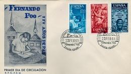 1965 , FERNANDO POO , SOBRE DE PRIMER DIA , ED  239 / 241 , XXV AÑOS DE PAZ ESPAÑOLA - Fernando Poo