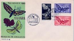 1964 , SAHARA ESPAÑOL , SOBRE DE PRIMER DIA , ED  225 / 227 , PRO INFANCIA , MARIPOSAS - Sahara Español