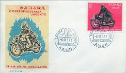 1971 , SAHARA ESPAÑOL , SOBRE DE PRIMER DIA , ED  292 , CARTERO MOTORIZADO - Sahara Español