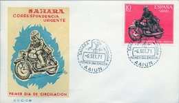 1971 , SAHARA ESPAÑOL , SOBRE DE PRIMER DIA , ED  292 , CARTERO MOTORIZADO - Sahara Spagnolo