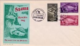 1971 , SAHARA ESPAÑOL , SOBRE DE PRIMER DIA , ED  222 / 224 , DIA DEL SELLO , PECES - Sahara Spagnolo