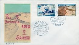 1973 , SAHARA ESPAÑOL , SOBRE DE PRIMER DIA , ED  310 / 311 , PRO INFANCIA , PINTURAS - Sahara Español